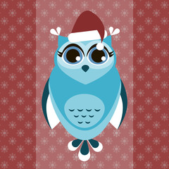 Owl in Christmas hat