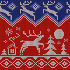 Knitted Norwegian Background with a Deer