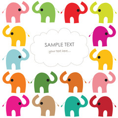 Colorful elephant vector baby greeting card