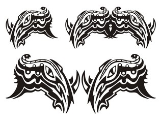 Tribal symbol of the rhinoceros head with a snake