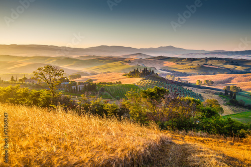 Scenic Tuscany landscape at sunrise, Val d'Orcia, Italy - 73569367