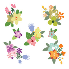 Vintage Flowers Illustration - Set