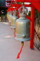 Red bells in a temple