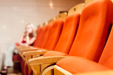 Bright Orange Plush Theater Seats
