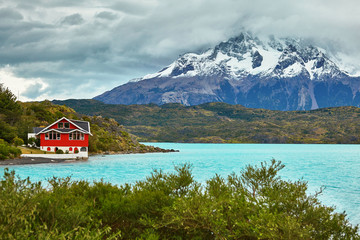 Red house on Pehoe lake in Torres del Paine