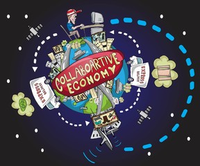 World collaborative economy illustration