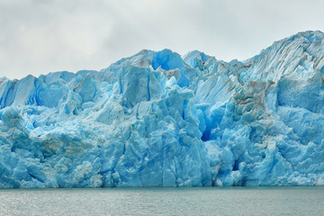 Blue icebergs at Grey Glacier in Torres del Paine