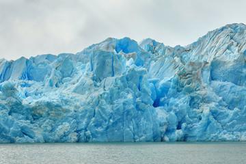Blue icebergs at Grey Glacier in Torres del Paine