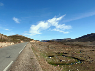Road in Dry Atlas Mountains of Morocco