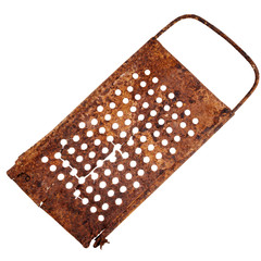 Old rusty cracked grater