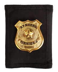 Special officer badge on black futrol