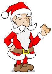 Weihnachtsmann knabbert einen Keks