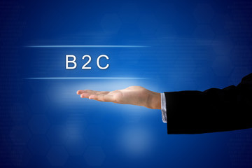 B2c or Business-to-Consumer button on virtual screen