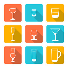 vector color flat alcohol glasses icons with shadow