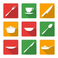 vector various white silhouette dinnerwarwe icons with shadow