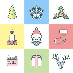 vector christmas new year outline pastel color icons set