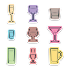 vector various color alcohol glasses labels icons with shadow
