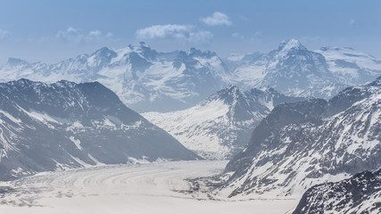 Aletsch Glacier in the Jungfraujoch, Alps, Switzerland