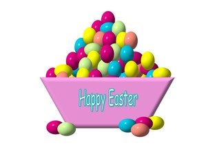 many happy Easter eggs