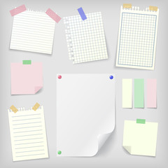 Post-it set of sticky notes and notebook paper