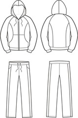 Vector illustration of men's sport suit. Smock and pants