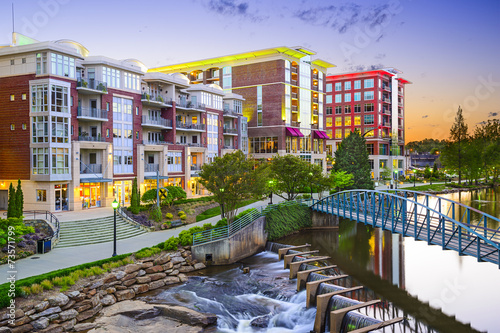 Fotobehang Midden Oosten Greenville, South Carolina, USA Cityscape at Reedy River