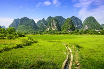 Guilin, China Karst Mountains and Farmland