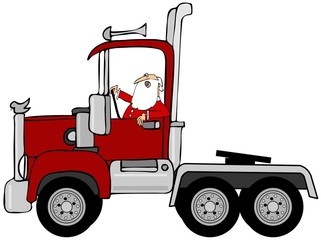 Santa driving a red semi truck