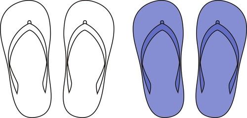 Vector illustration of beach slippers