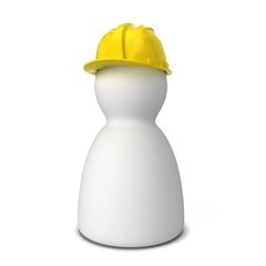 Men figure with safety helmet