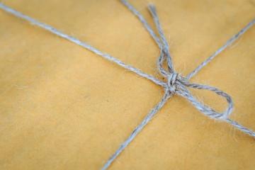 Close up natural rope on post box