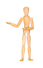 Wooden mannequin presenting