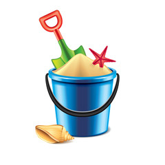 Toy bucket and spade isolated on white vector