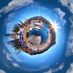 Circular view of a sunny day in Big Bear Mountain