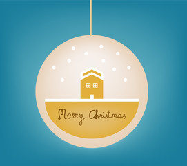 Christmas landscape in a bauble, vector illustration