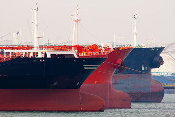 Oil-tankers docking in Rotterdam, Holland