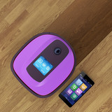 Robot vacuum cleaner and smart phone. IoT concpet. poster