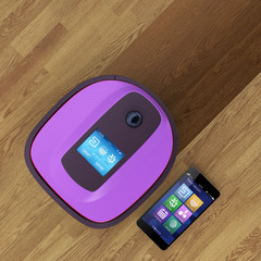 Robot vacuum cleaner and smart phone. IoT concpet.