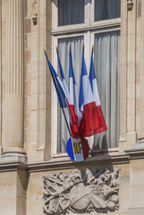 French flags flying for Bastille Day on Reims City Hall