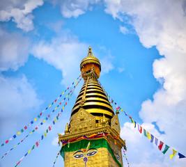 Prayer flags on Swayambhunath Stupa, Kathmandu, Nepal