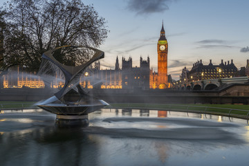 Big Ben and Westminster Bridge at Sunset with a Fountain