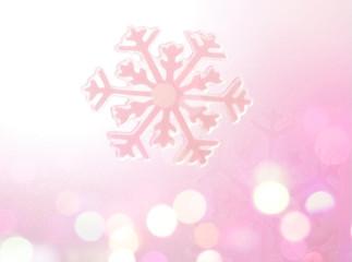 Winter Holiday Snow flake Background, Pink Bokeh.