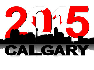 Calgary skyline 2015 flag text illustration