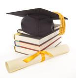 Gold Grad Cap Diploma Books