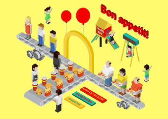 Flat 3d isometric fast food, burger and fries web infographic
