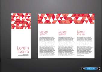 tri fold business brochure template red