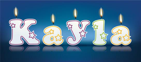 KAYLA written with burning candles