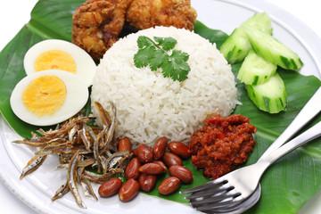 nasi lemak, coconut milk rice, malaysian cuisine