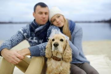 guy, girl and dog