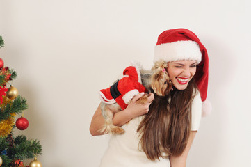cute funny woman in Santa hat with toy terrier near Christmas tr